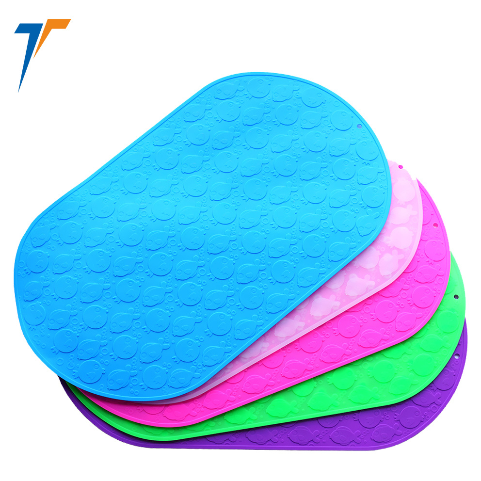Fast drying baby silicone anti-slip waterproof bath mat with suction cup