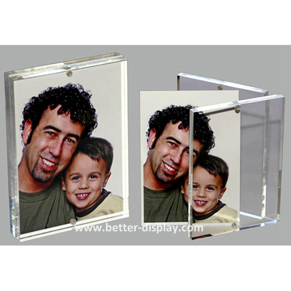 clear organic glass acrylic double magnetic photo frame with magnets