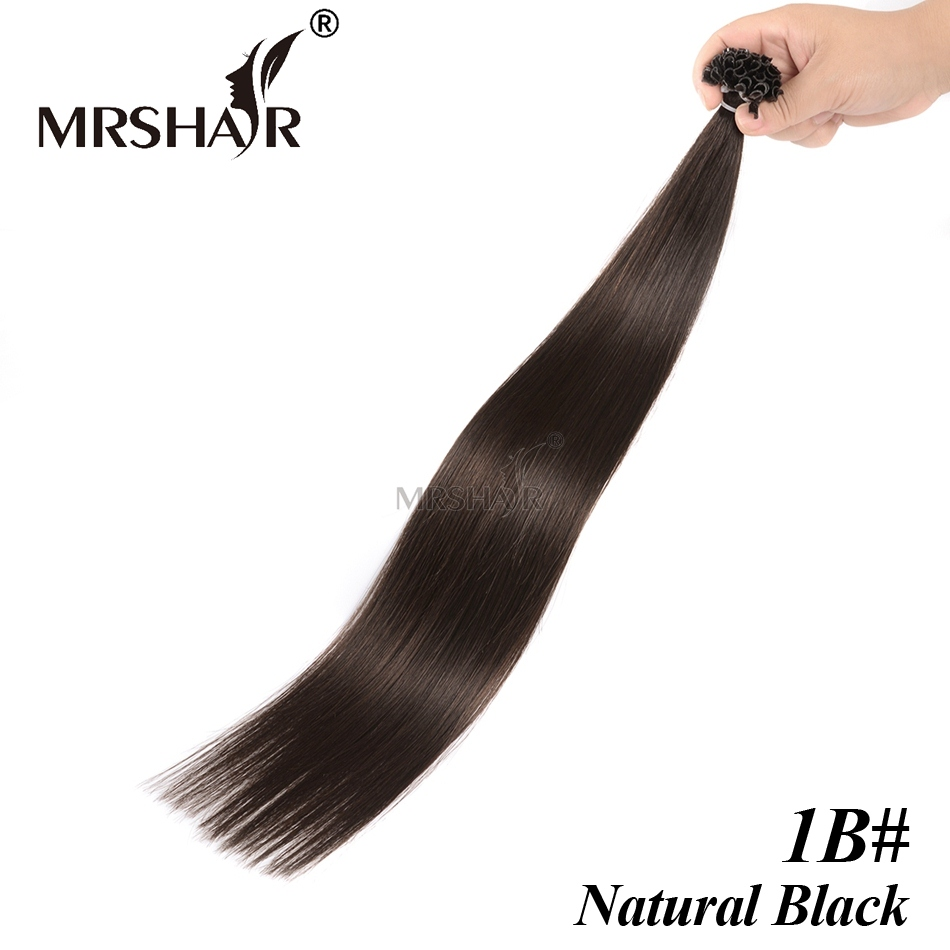 Natural Black 1B# Nail U Tip Hair Extensions Salon Pro Bonding Straight Brazilian Hair 1g U Tip Hair Extension