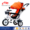 Alibaba hot sell stroller baby pram tricycle/comfortable fashion tricycle for children/big wheel trike with canopy and push bar