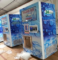 ice vending with auto seal bag function/pure ice vending kiosk for 24 hour service