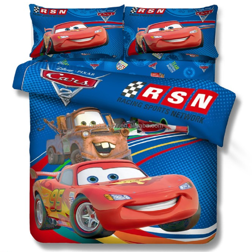 hot-selling percale reactive printed 100% egyptian cotton kids twin size 3D cartoon bed sheet