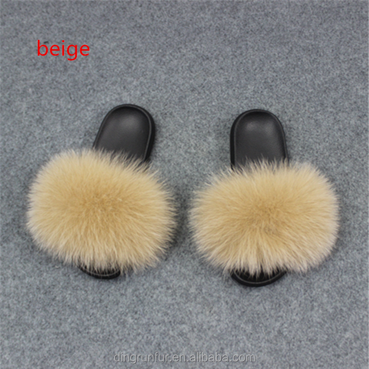 Factory Direct Sale Nature Fox Fur Sandals Real Fox Fur <strong>Slippers</strong>