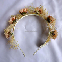 Wholesale rose and gypsophila dry flower <strong>headband</strong> from yiwu flower market