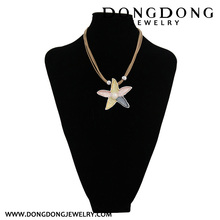 DL069 custom alloy Five-pointed star pendant necklace with simulated pearl for wedding