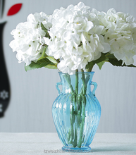 Double ear glass flower vase for wedding and event