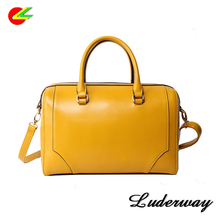 2017 Factory OEM design fashion pu leather woman handbag ladies bag tote bags in yellow color