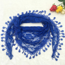 Sexy Korea Creative Summer Print Flower Elements Neck Wear Triangle Openwork Tassel Trangle Lace Scarf