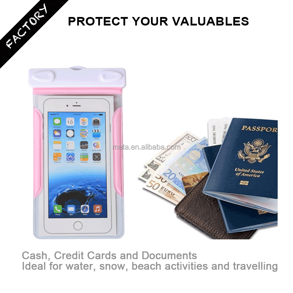 Customized Waterproof Case Bag Pouch for Smart phone with IPX8 certificated for 25m (up to 6' inch)