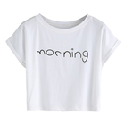 Printed plain white tshirt 100% cotton crop tops wholesale unbranded blank t-shirt woman clothes