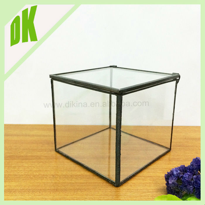 Various sizes, custom size accepted indoor geometric vase *** metal stand flower glass vase with foot