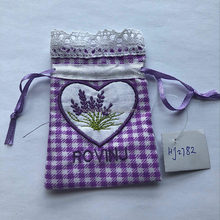 Cotton Fabric Linen Drawstring Embroidered Sachet Lavender Bags
