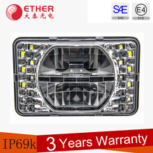DOT approval low beam and high beam 4x6 led lights square headlights for Truck,UTV,ATV,tractor