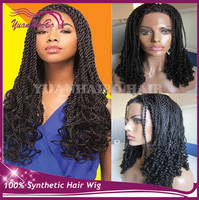 Alibaba express black color kinky twist lace front wigs heat resistant synthetic braided wigs for black women African American
