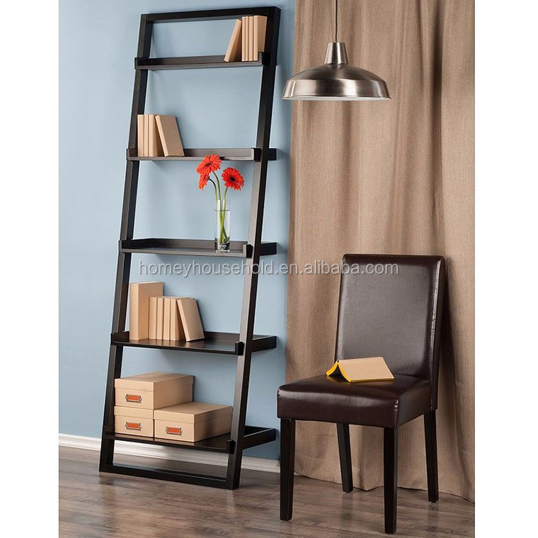 Black Folding MDF 5 Tier Leaning Holders Wooden Storage Racks with Shelves