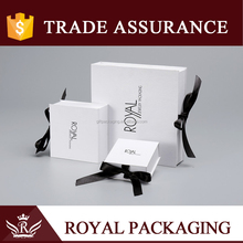 Hot sale Rigid Cardboard Jewellery Packaging Box With Satin Ribbon