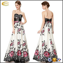 OEM wholesale Women's Strapless Ruched Bust Empire Waist flower print long dress prom tube gown
