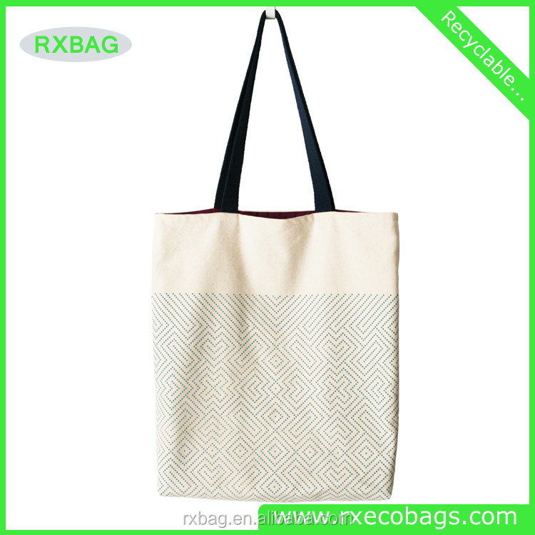 Recycled canvas cotton bag promotional/Printed Cotton Canvas Totes with Zipper Closure
