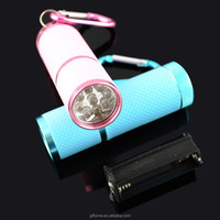 Mini Fashion Colorful Aluminum 9 LED Torch with Carabiner
