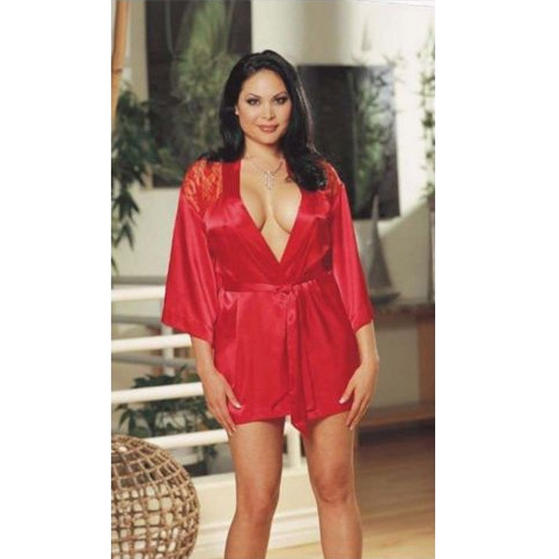 Get Quotations · Sexy Gecelik Silk Robe Rose Lace Back Satin Robes For Women  Plus Size Bath Robe Silk b642869a5