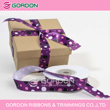 dots printed single side polyester satin ribbon for gift packaging