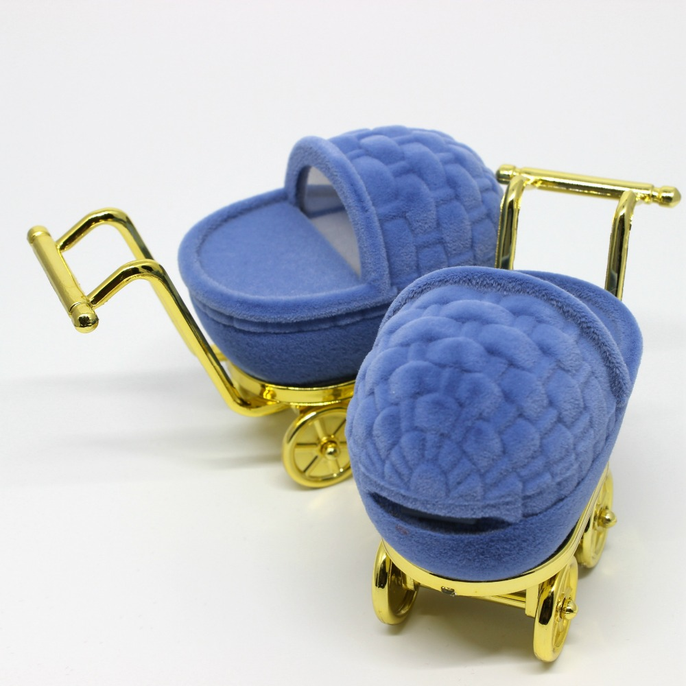 Best quality cheap baby shopping cart flocking velvet ring box jewelry boxes blue color
