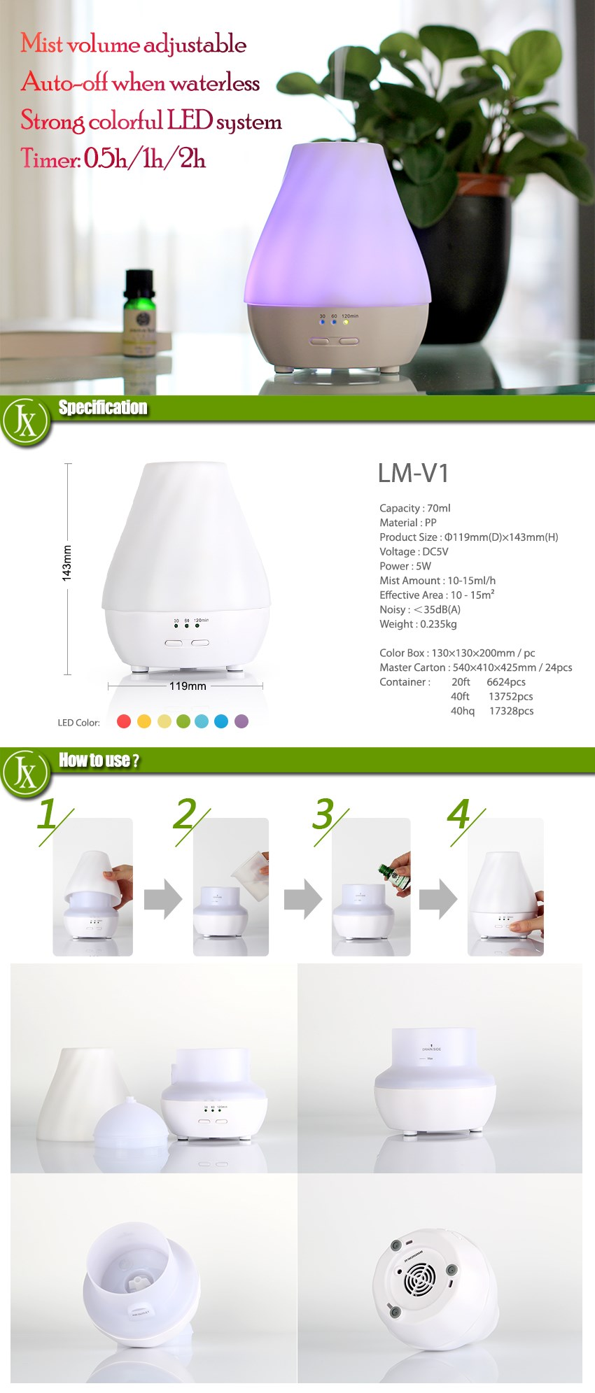 2016 hottest USB adapter Aroma Diffuser colorful LED Essential Oil diffuser