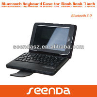 Folio case leather bluetooth keyboard for Nook hd 7 inch