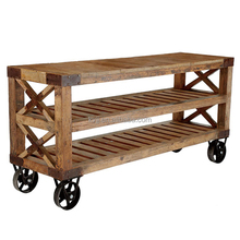 KVJ-7427 industrial furniture three layers coffee table on wheels ladder top