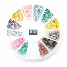 3D Cake Candy Butterfly Peacock Christmas Bow Tie Fimo Nail Art Nail Tips Polymer Clay Slices Decoration Wheel