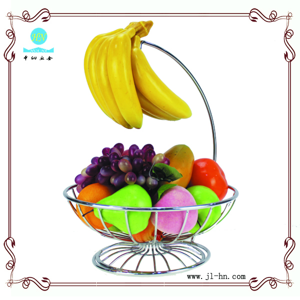 Wholesale fruit basket with banana holder hook hanging wire basket for kitchen