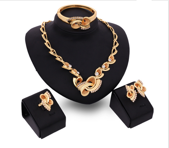 Rare Flower Plant Pattern Shape 2017 New African Costume Gold Plated Necklace Earrings Bracelet Ring Jewelry 4Pcs Per Sets