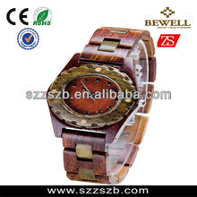 Two Tone Red Green Sandalwood Wooden watches for Lady