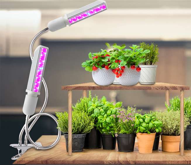 Dual Head  20W Clip Desk Lamp 240V PLC Lamp LED Grow Light With 360 degree Flexible Gooseneck  for Indoor Plants