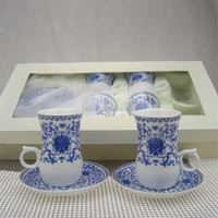 New bone china turkish 12pcs tea cup saucer set in gift box