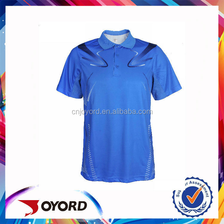 Guangzhou all over sublimation men golf shirt, stylish blue golf wear for sport