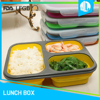 China manufacture office microwaveable 3 compartment silicon meal container
