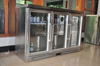 Three glass doors under cabinet refrigerator stainless wine