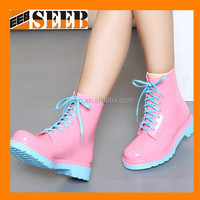 China martin style pink color PVC rain boots women fancy