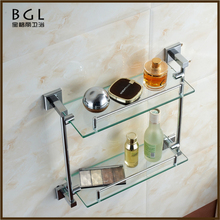85137 brass material holder dual tier glass bathroom shelf