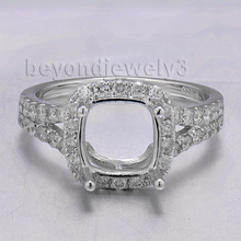 Cushion 8mm Stone Semi Mount Ring,Platinum Jewellry PT900 Natural Diamond Ring Semi Mount Hot Sale SR00233A
