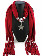 Solid red rhinstone star pendant jewelry scarves DIY design long wrap necklace scarves 2016 jewelry scarves for Christmas Gift