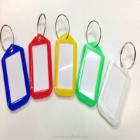 Plastic Small Photo Name Tag Holder Key tag Chain Keyring Colorful