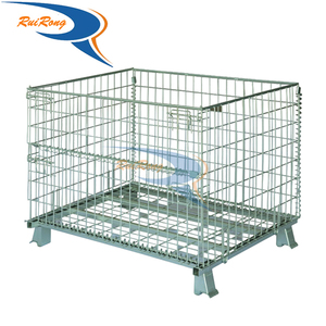 folding rolling metal storage cage stillage cage with wire wheels