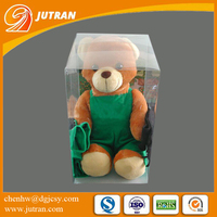 PET PVC Transparent Toy Bear Rectangle Cube Custom Plastic Gift Packaging Box