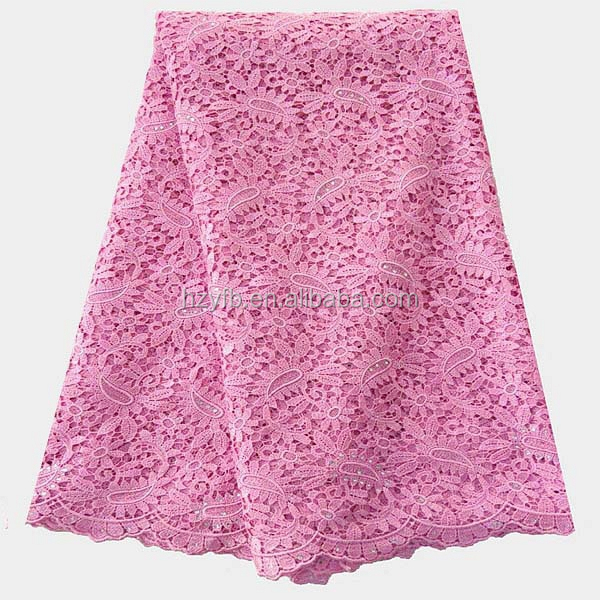 Baby pink elegant lovely girls dress 2016 5 yards nigerian guipure lace fabric austrian embroidery designs flower lace