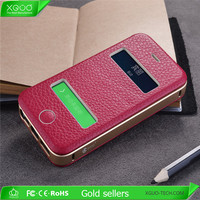 luxury genuine leather case for apple iphone 5s case leather case & aluminum slim back cover for iphone5