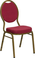 Burgundy Patterned Fabric Teardrop Back Gold Frame Banquet Stack Chair