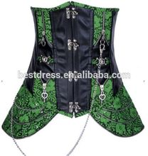 fajas instyles butt lifter Luxury Sexy Lady New Leather Steel Boned Gothic Underbust Corset Bustier Green