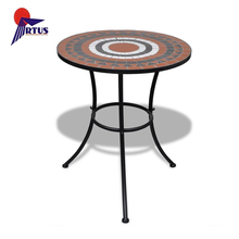 China wholesale cheap round garden leisure furniture metal outdoor mosaic table